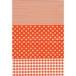 Décopatch papier oranje streep/stip/ruit