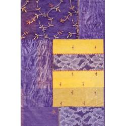 Décopatch papier geel/paars kant