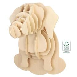 Houten 3D puzzel teckel hoofd