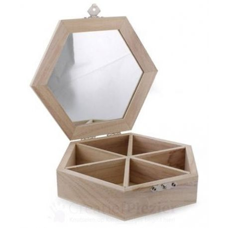 New Houten sieradenkistje met spiegel online kopen &NR24