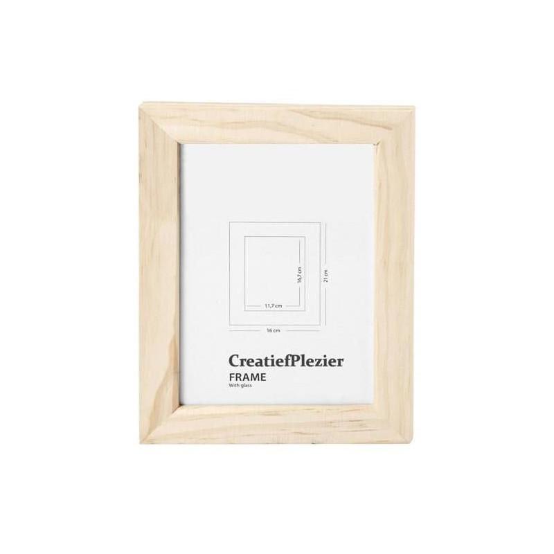 Houten fotolijst met glas, 21 x 16 cm