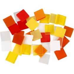 Kunststof mozaiek steentjes oranje/rood 25 gram (10 x 10 mm)
