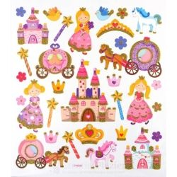 Fancy glitter stickers - prinses, 1 vel