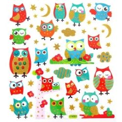 Fancy glitter stickers - uilen, 1 vel