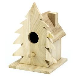 Houten vogelhuisje kerst, 17 x 12 x 13 cm