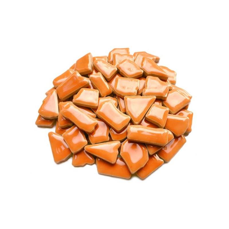 Mozaiek steentjes keramiek oranje, 100 gram
