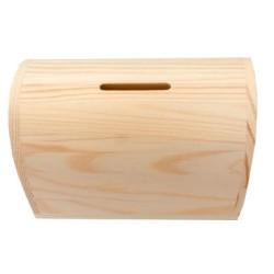 Houten spaarpot kistje, 12,5 x 7,5 x 8 cm