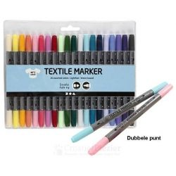 Textielstiften extra kleuren, 20 stuks